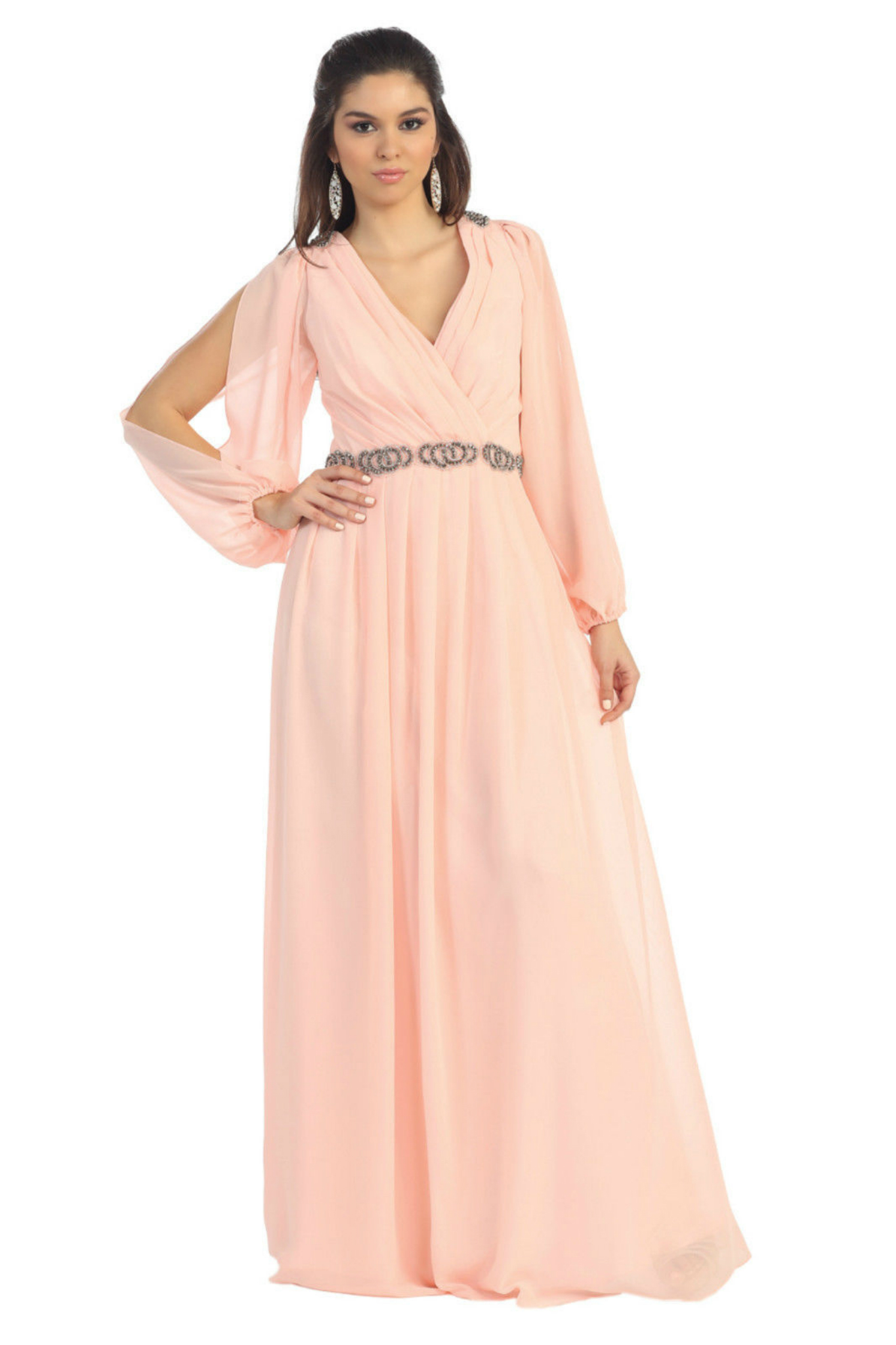 Gorgeous Long Chiffon Burgundy Mother Of The Bride Dress