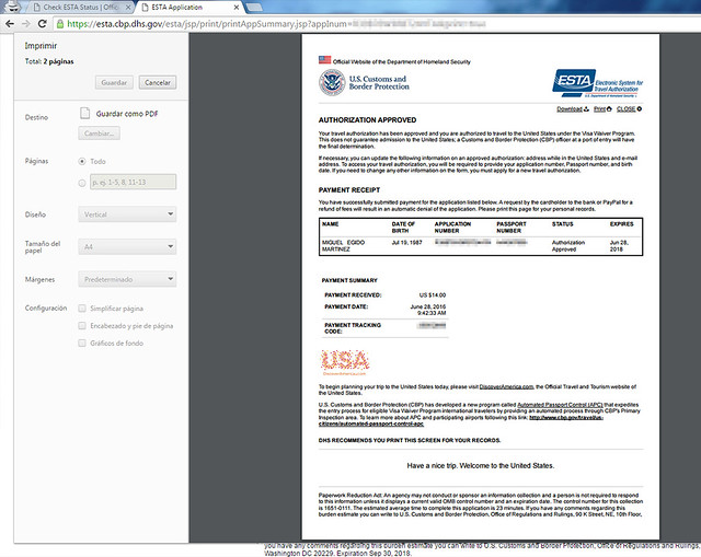 PDF para imprimir con el resguardo de tener el ESTA para entrar en Estados Unidos