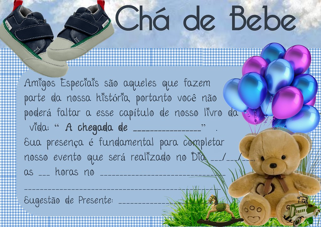 Mensagem De Convite De Cha De Fralda: CONVITE CHA BEBE (MENINO)