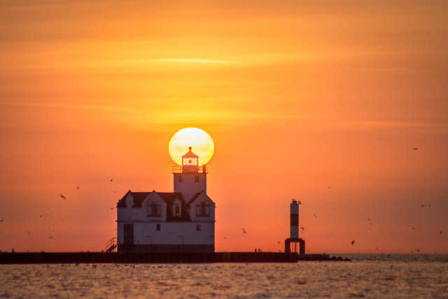 Sunrise, Lighthouse, Kewaunee, WI, Lake Michigan, Morning