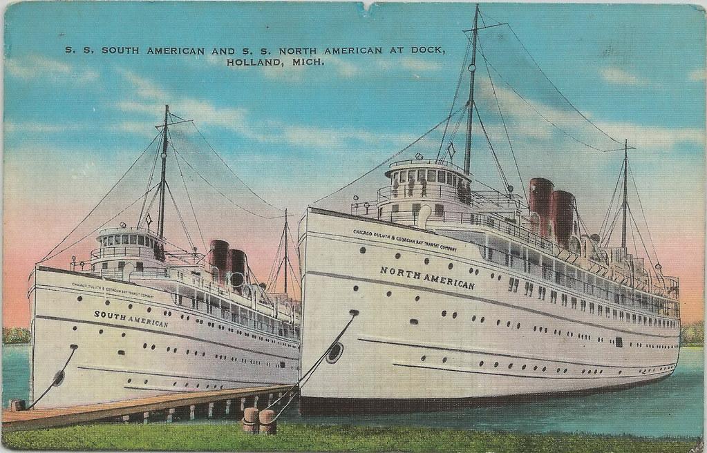 Sw Holland Mi Steamship Docks Ss South American Amp Ss North