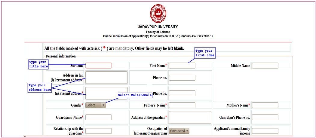 Jadavpur University B.Sc Application Form 2017 - Apply Here