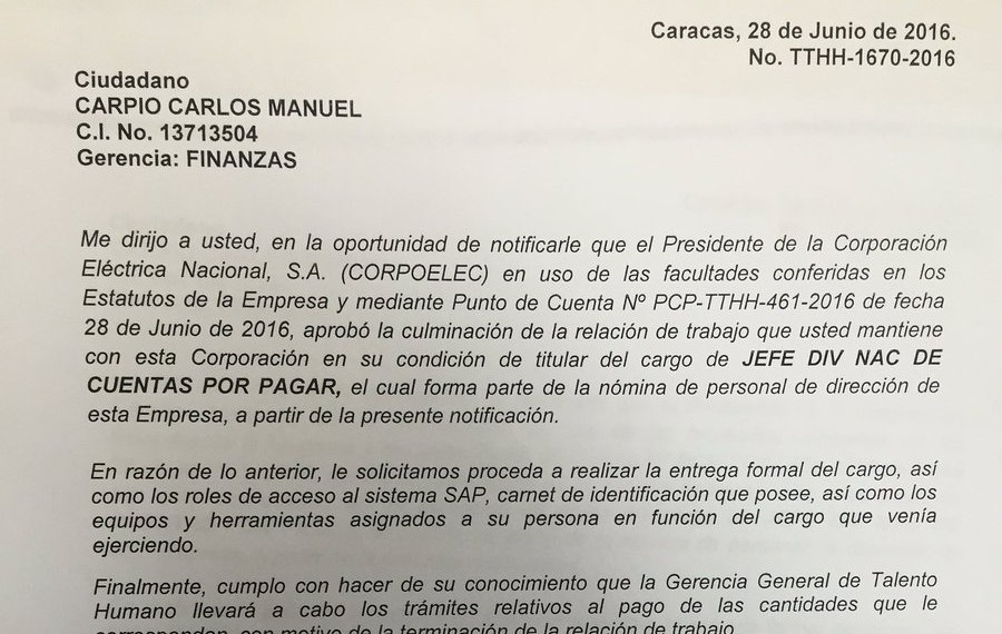 Cartas de despidos a trabajadores de CORPOELEC (Puerto Ordaz) no indican causas del despido, ¿Hará f...