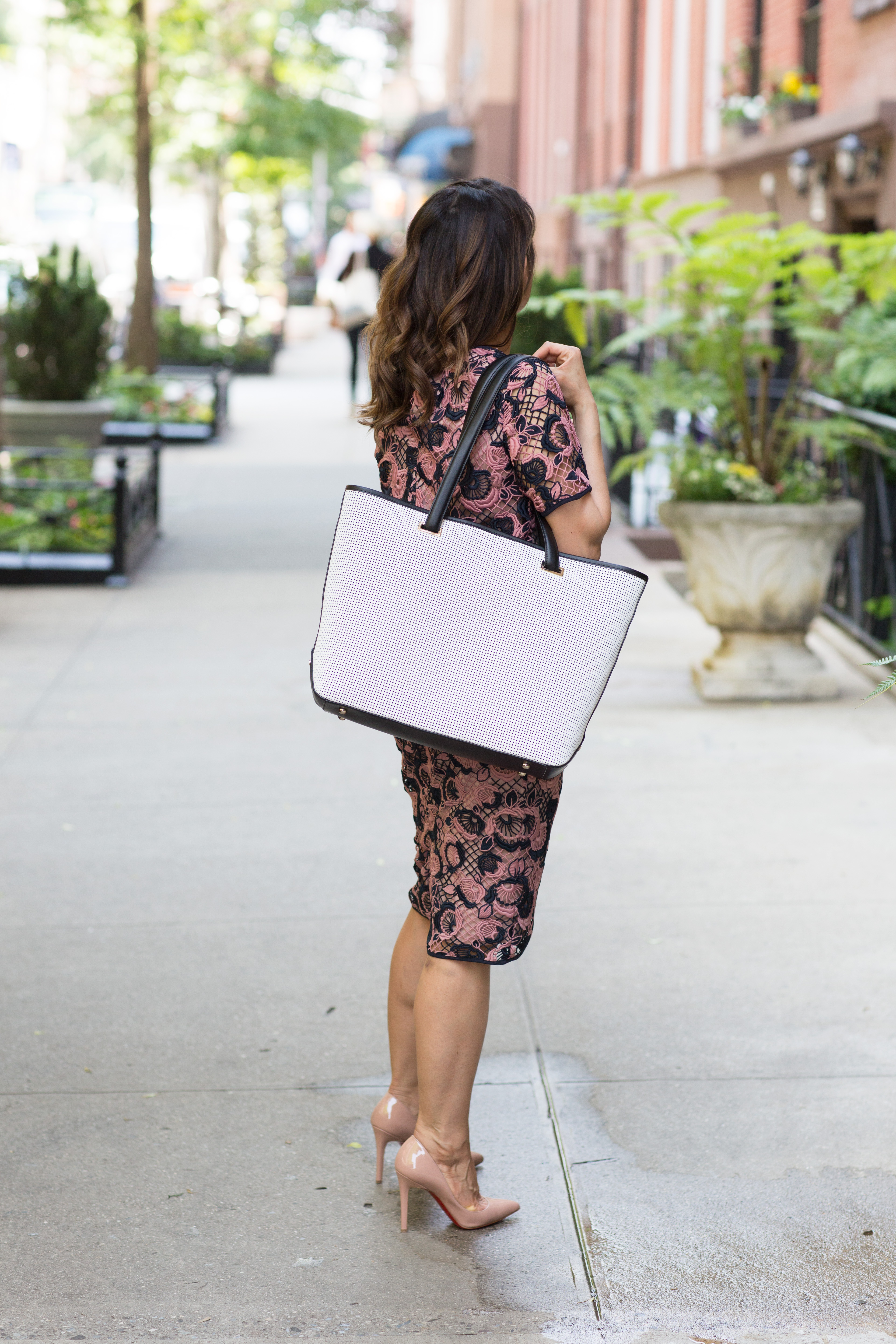 Lace top and pencil skirt with nude heels and white tote from Lo and Sons for the perfect work bag or work tote