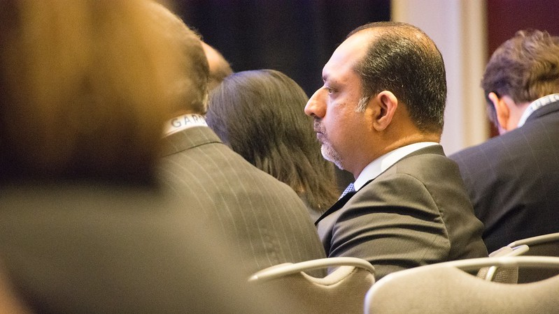 IFA chairman Aziz Hashim ponders a point at the IFA's recent Legal Symposium (photo/bmm)