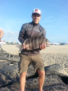 Photo of man holding sheepshead fish