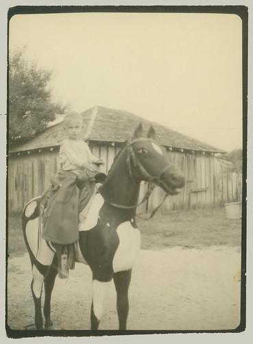 Boy on a fake horse