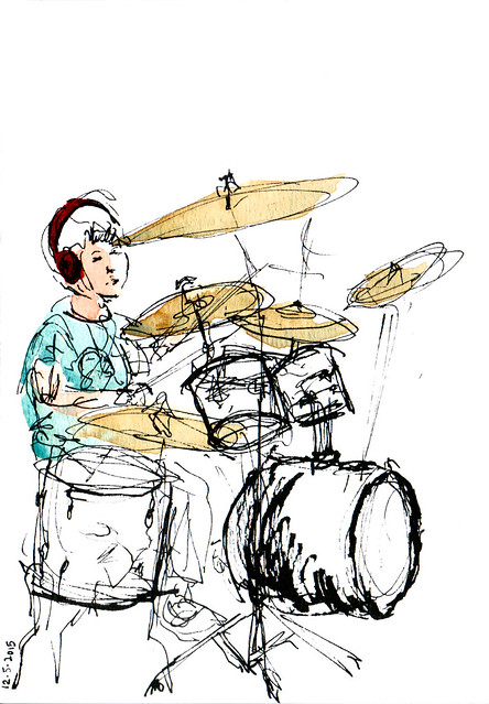 An ink and watercolor sketch of a child playing the drums