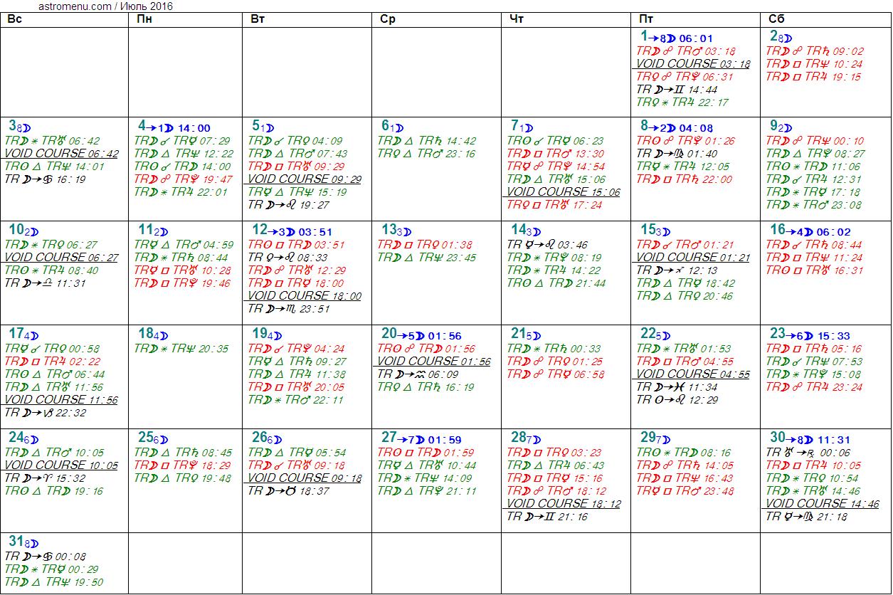 Астрологический календарь на ИЮЛЬ 2016. Аспекты планет, ингрессии в знаки, фазы Луны и Луна без курса
