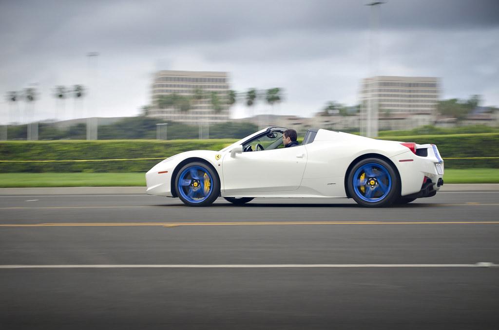 Custom White Blue Ferrari 458 Italia Spider Custom White