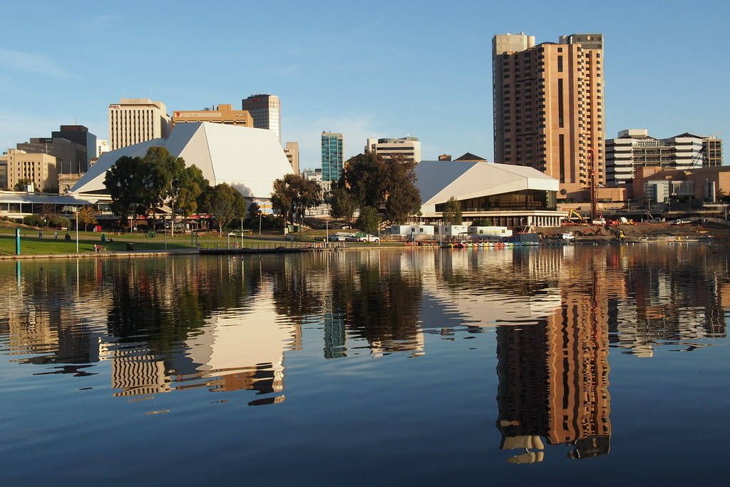 Adelaide skyline from the River Torrens north bank (May 7 ...