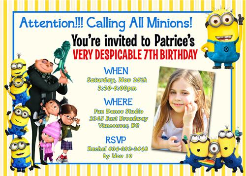 Printable Despicable Me Invitations for adorable invitation design