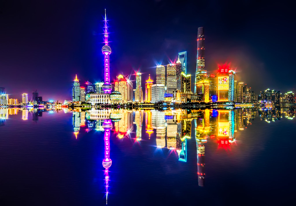 Shanghai Skyline | A glittering Pudong at night across the ...