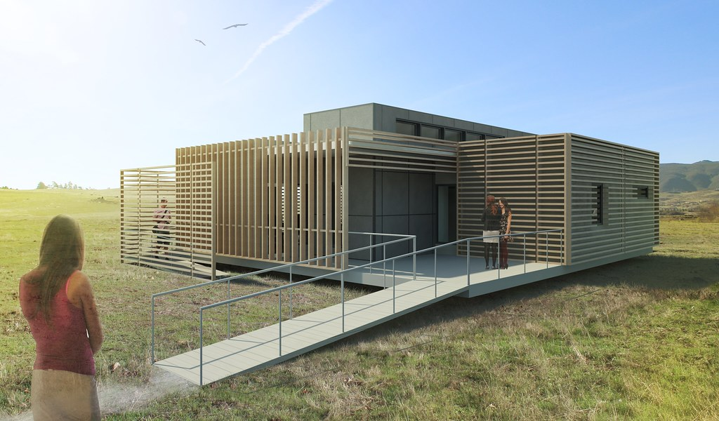 Cal poly solar decathlon 2015 house rendering elevation 1 for Solar decathlon 2015