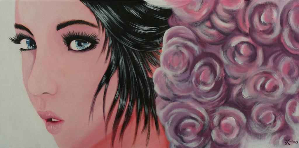 tableau style manga bd visage de femme rose flickr. Black Bedroom Furniture Sets. Home Design Ideas