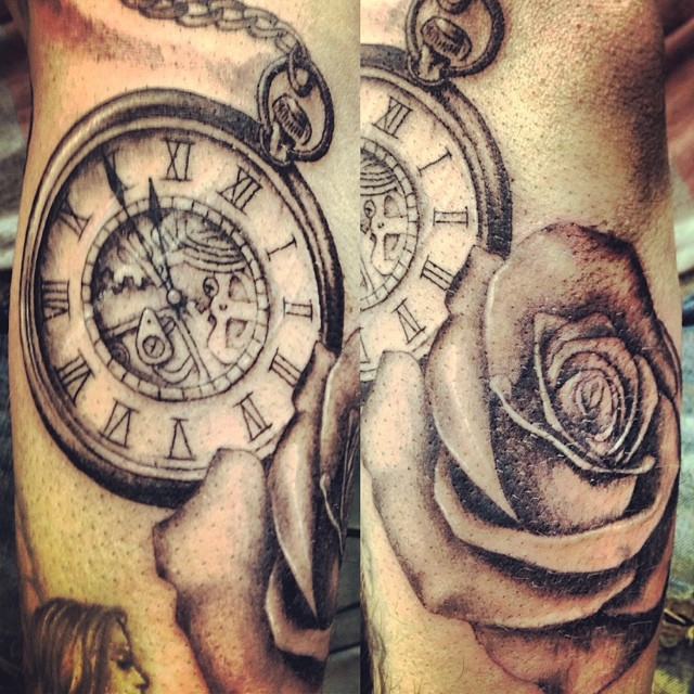 pocketwatch rose albertchain tattoos tattoo bishopro flickr. Black Bedroom Furniture Sets. Home Design Ideas