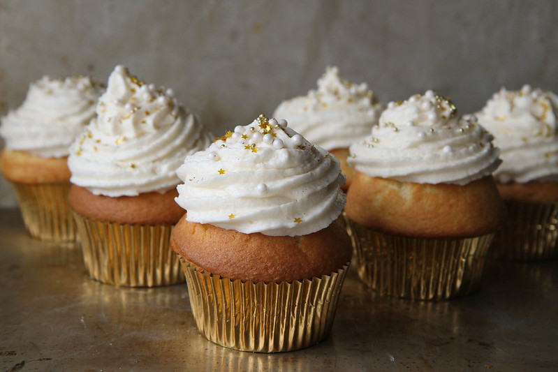 Champagne Cupcakes: just use a yellow cake mix and swap the 1 cup of water for 1 cup of champagne!