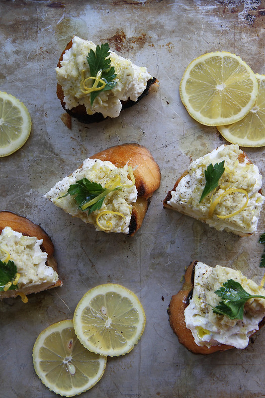 Crostini with Artichoke Pesto and Whipped Ricotta