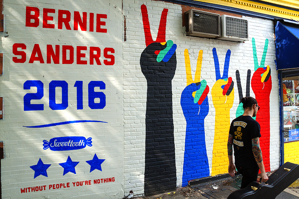 Sweet Tooth's Bernie Sanders mural--near South Street