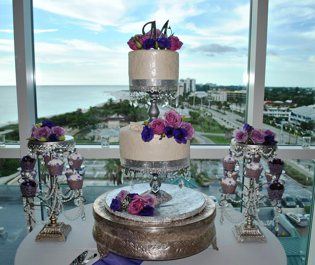 Purple&white Silver wedding cake Lido Beach resort Sarasot