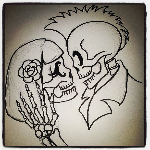 Doin sum cute doodles love drawing rockabilly skull for Love doodles to draw