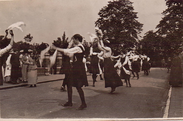 Morris dancers at Stratford-upon-Avon, 1912. From the Bob and Jean Turner postcard collection.