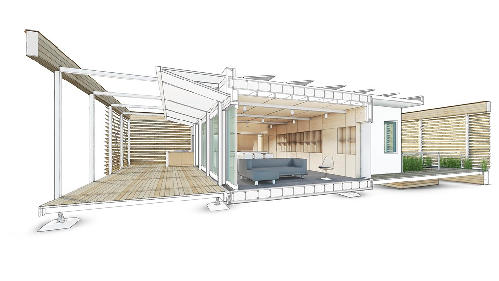 Stevens solar decathlon 2015 house rendering interior 1 for Solar decathlon 2015