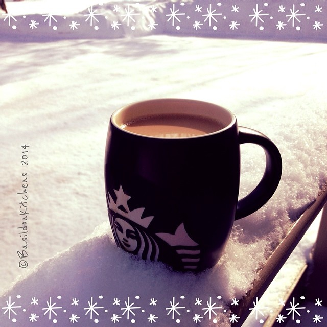 15/2/2014 - my drink of choice {I love my morning coffee. ☕️ There is nothing better.}  Today's us seeing some snow melting!  Yay! #fmsphotoaday #drinkofchoice #coffee #starbucks #favmug #snow #winter #sunshine #aviary