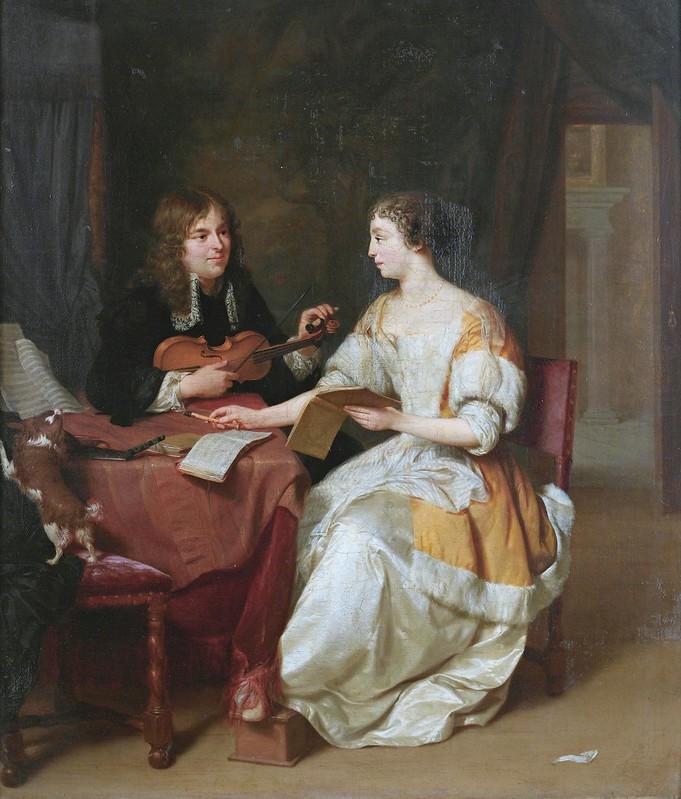 Jan Verkolje - An elegant couple making music in an interior