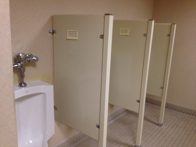 New Dividers Built Between Urinals