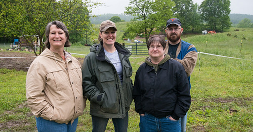 From left, U.S. Army Veteran Jody Schnurrenberger, Hock-Newberry Farm operations owner;  U.S. Coast Guard Veteran Erica Govednik; and U.S. Army Veterans Christine and David Hale Jr. at Hock-Dewberry Farm