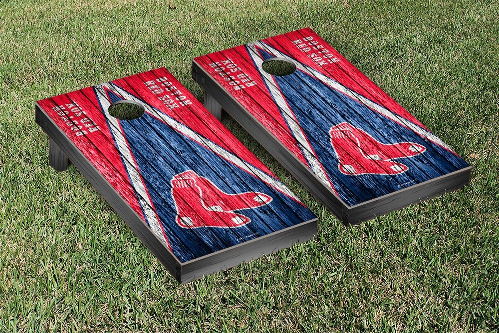 Boston Red Sox Triangle Weathered Version Cornhole Board