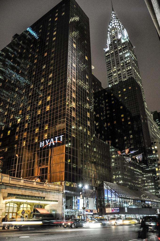 Chrysler Building And Grand Hyatt New York At Night