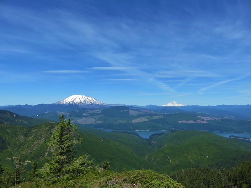 Mt. St. Helens and Mt. Rainier from a viewpoint below Siouxon Peak