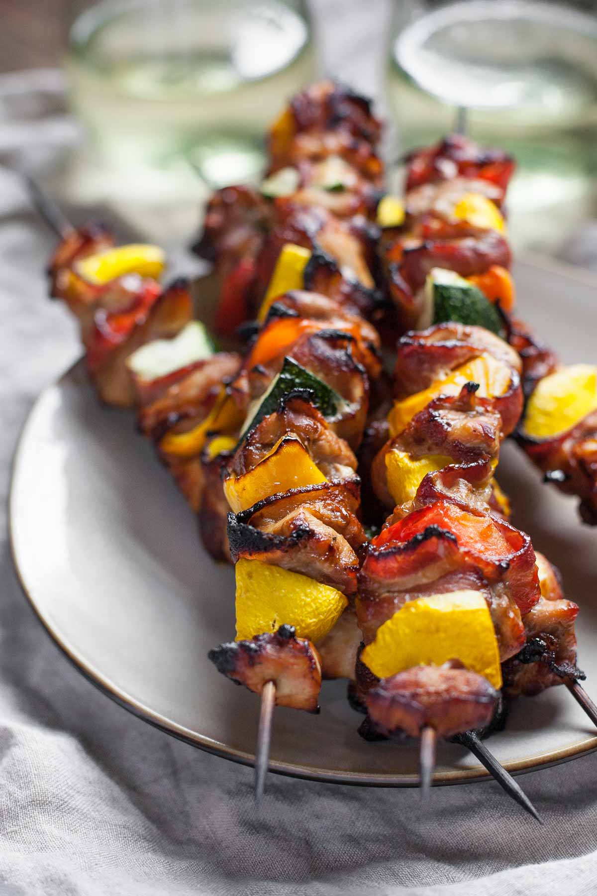 Maple Balsamic Chicken and Bacon Skewers