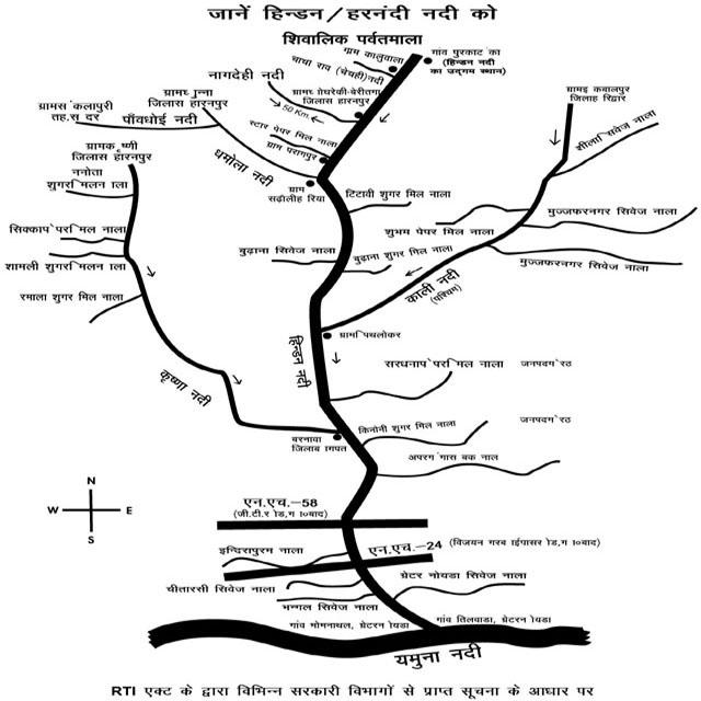 हिंडन नदी मैप
