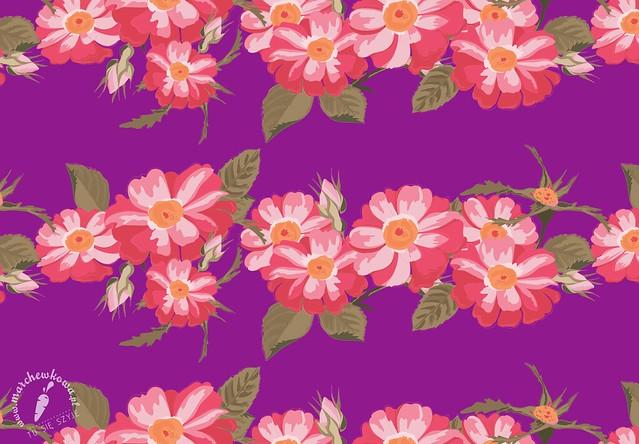 marchewkowa, grafika, nadruk, projekt tkaniny, wzór, print, dzikie róże, kwiaty, Wild Roses