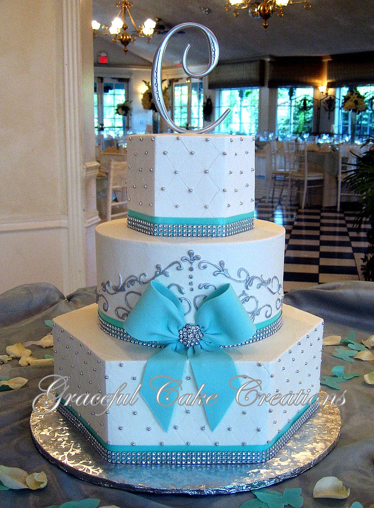 Elegant White and Tiffany Blue Wedding Cake with Bling ...