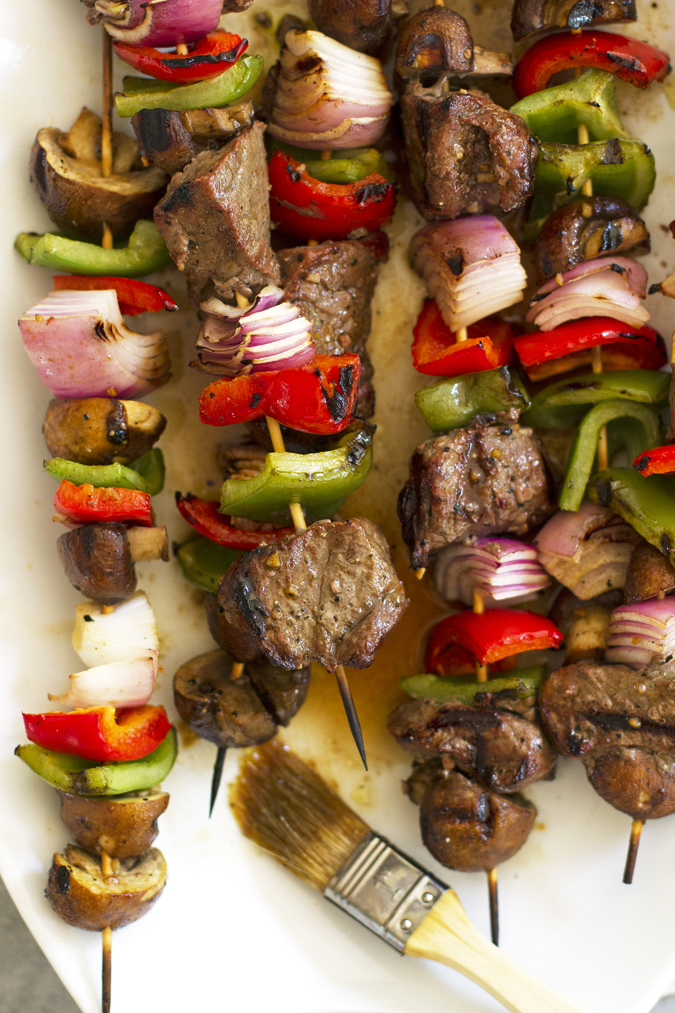 Grilled Steak and Mushroom Kabobs | girlversusdough.com @girlversusdough