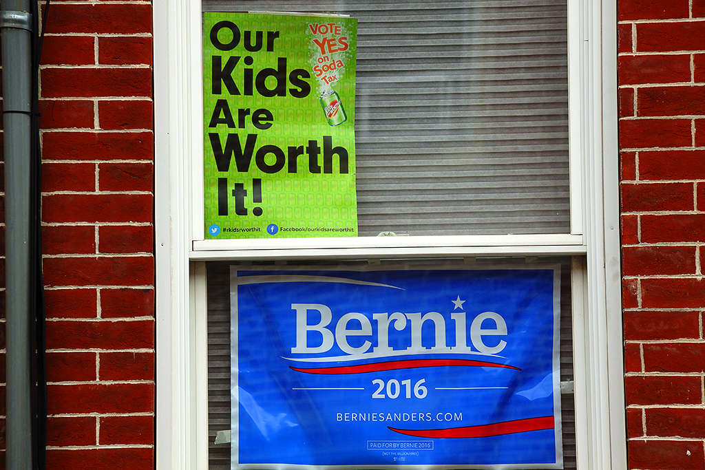 Our Kids Are Worth It and Bernie signs in window--Passyunk Square