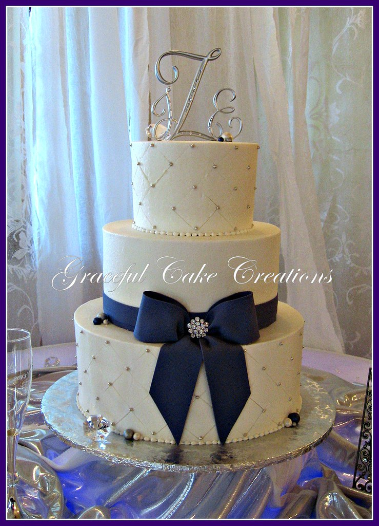navy blue white and gold wedding cakes white and purple wedding cake grace tari flickr 17782