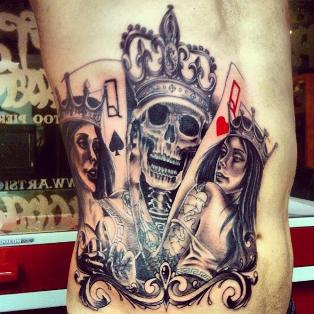 King skull ,queen girl ♠♥ #art #sion #ribs #artsion #andre ...