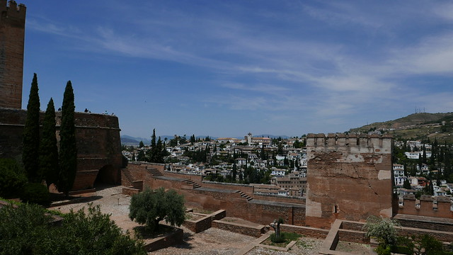 View from the Generalife Gardens at the Alhambra.