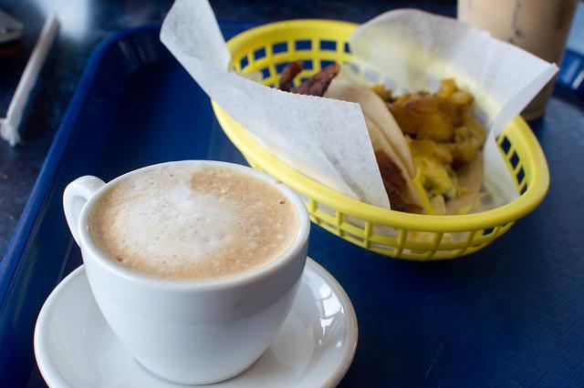 Cortado and breakfast tacos