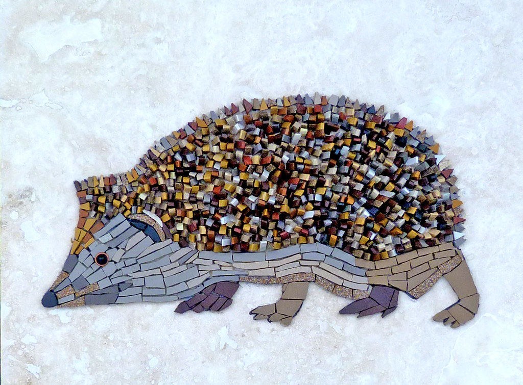 Hedgehog This Mosaic Was Made From Unglazed Ceramic Onto