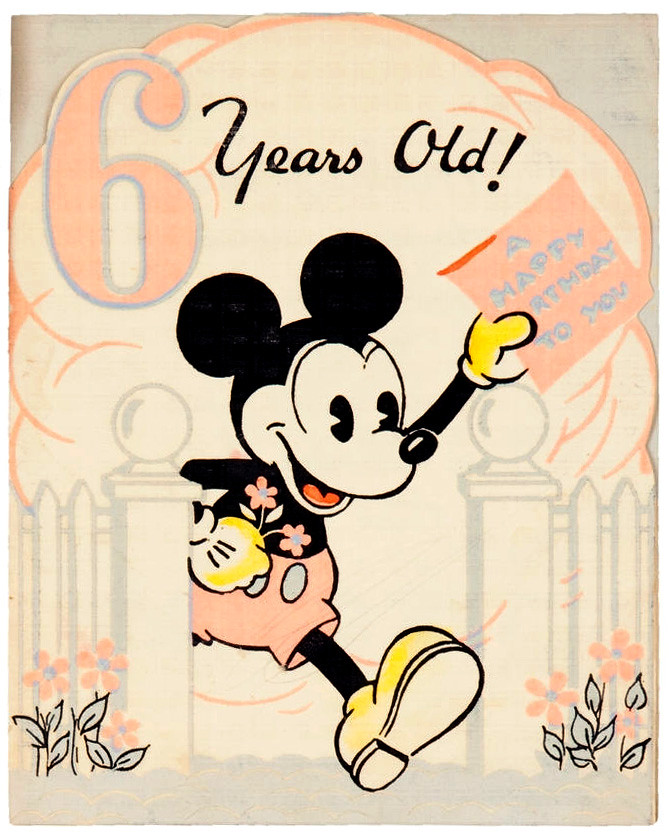 Mickey Mouse 6 Year Old Birthday Card 1930s Tom Simpson Flickr