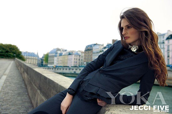 JECCI series of FIVE silk tops and ruffled suit jacket