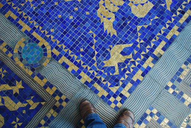 Gold Mosaic Tile Kitchen Backsplash