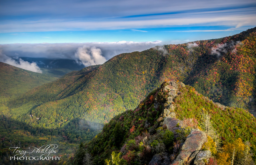 Chimney Tops Early Morning Fog And Fall Color Shot From