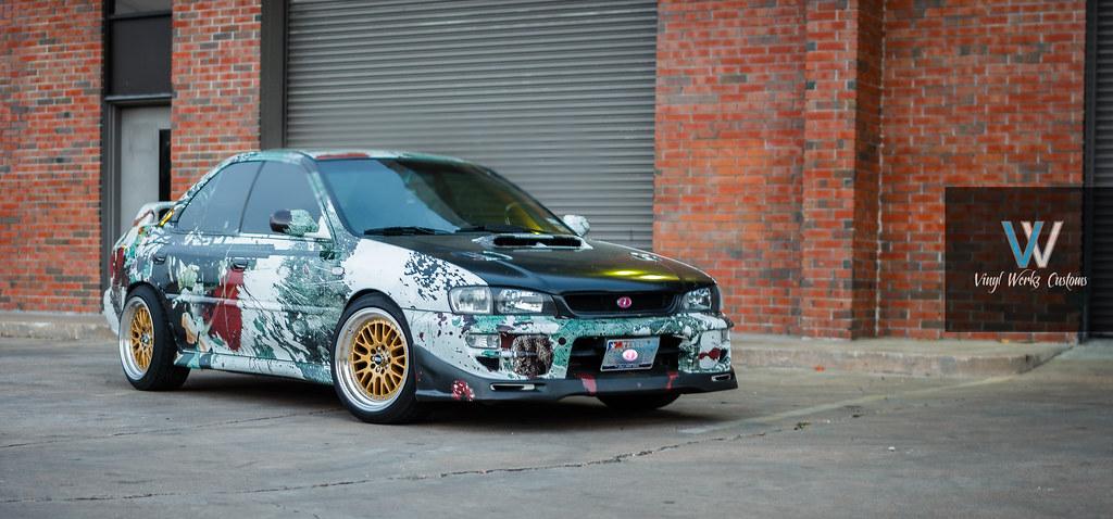 Anime wrapped subaru impreza Vinyl werkz show car